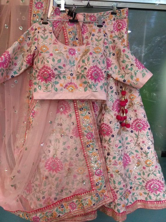 Choli Dupatta Indian Pakistani designer Baby Pink Heavy Work Wedding party wear dress for women exclusive girls new lengha This is a made to order Lehenga Choli dupatta. I make it exclusively for my customers by using designer fabrics. I will only start making it after you confirm your required size details. Handling time: Dont worry, jus