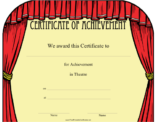This theatre achievement certificate features a frame of theatre this theatre achievement certificate features a frame of theatre curtains present to an outstanding actor yelopaper Choice Image