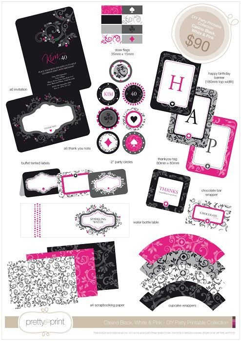 DIY Party Printable Collection - Black, White & Pink Casino Theme