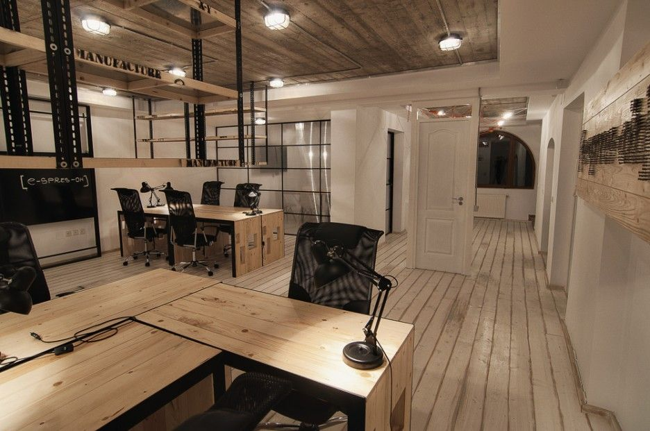 Industrial office desks google search innpro for Industrial office interior design