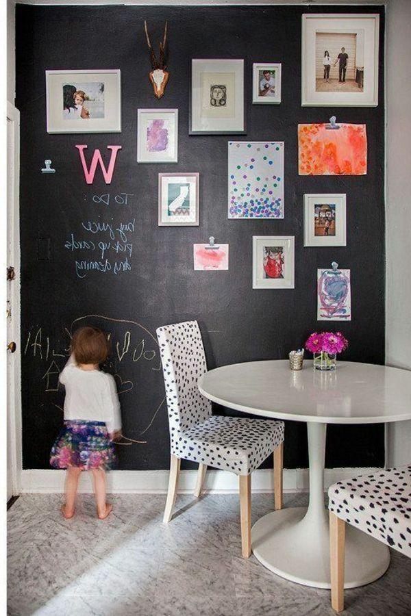 Schöne Idee Für Esszimmer: Eine Wand Mit Tafelfarbe Für Die  Familiengalerie. Frische Kunstwerke Kommen Direkt Mit Kreide Auf Die Wand.