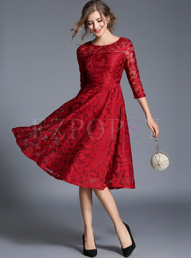 Wine Red Embroidered Skater Dress Lace Dress Lace Blue Dress Lace Evening Dresses [ 1066 x 789 Pixel ]