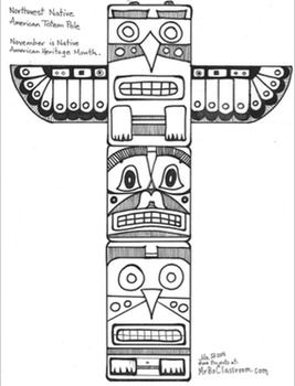 totem pole design template - native american activity pack totem pole totem cubes