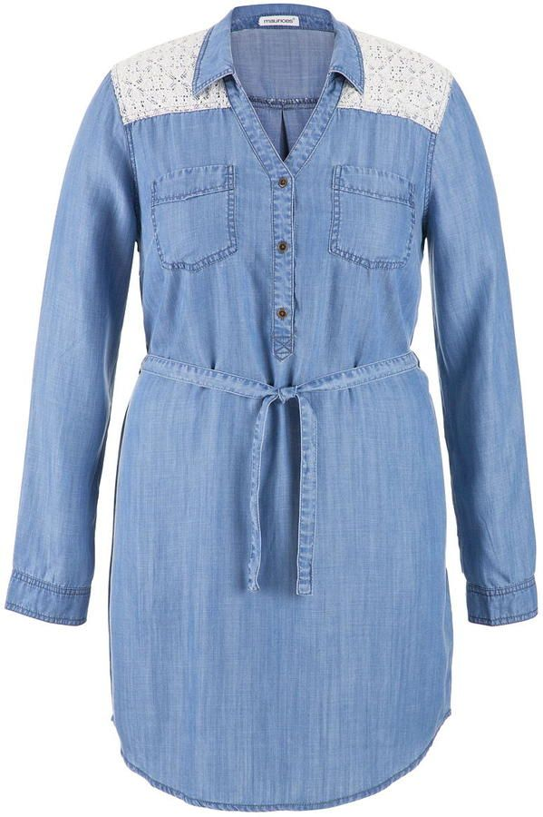 Plus Size Chambray Shirtdress With Lace Dresses Pinterest