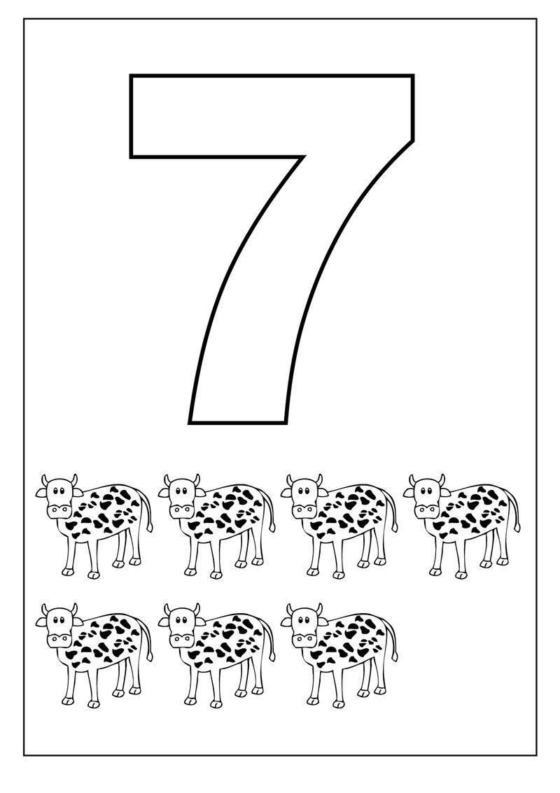 Number 7 Worksheet Cows 1 Kids Learning Numbers Numbers Preschool Coloring Pages