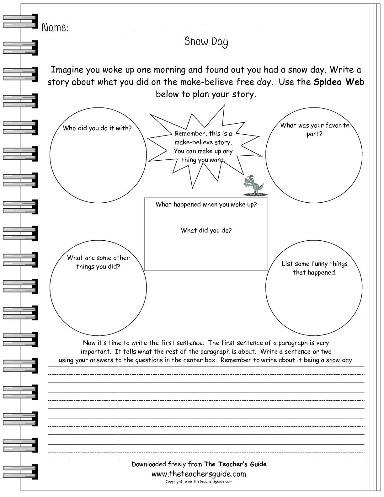 Snow Day Writing Prompt Worksheet