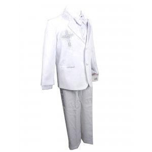 90b4f60a5 Rafael Collection Baby Boys White Jacquard 5 Pcs Baptism Tuxedo Set ...