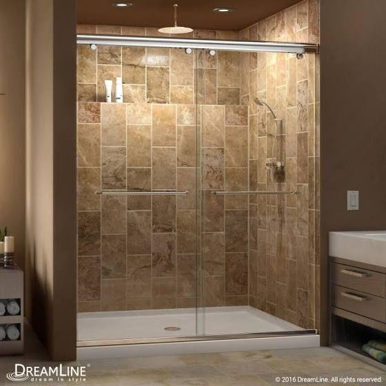 walk in shower glass door | Bathroom with yellow vanity | Pinterest ...