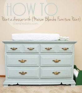 How to Paint a dresser with Maison Blanche Furniture Paint, and get a clean vintage look. Tutorial via cherishedbliss.com