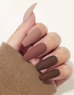 Matte Press on nails/fall nails/brown tips/nude na