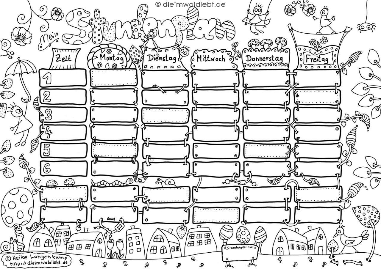 blog aus dem wald schul stundenplan zum ausdrucken und