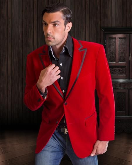 Mens Red Sport Coat Blazer