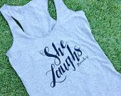 Special Listing She Laughs Distressed Tri-blend Tank in Heather Grey / Black.....Gym Tank,  Graphic t-shirt, Workout Tank, Workout Top