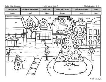 Multiplication Fact Strategy Coloring Sheets No Prep December Holiday Theme Christmas Coloring Pages Math Coloring Math Coloring Worksheets