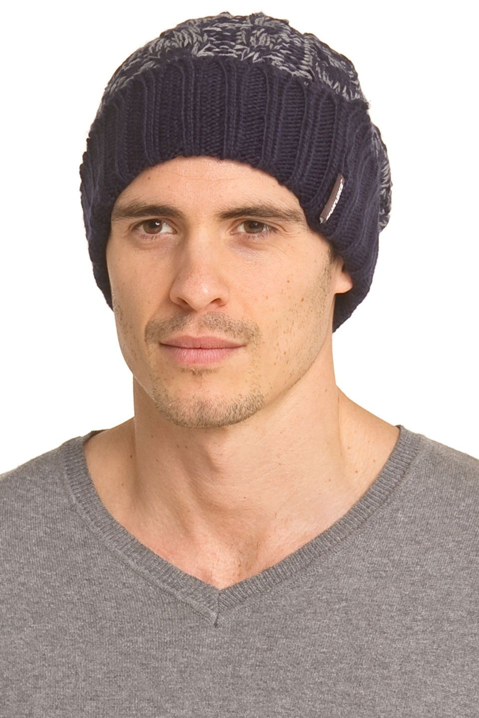muk luks Men's Two-Tone Cable Cuff Cap in Galaxy and Cinder - Beyond the Rack