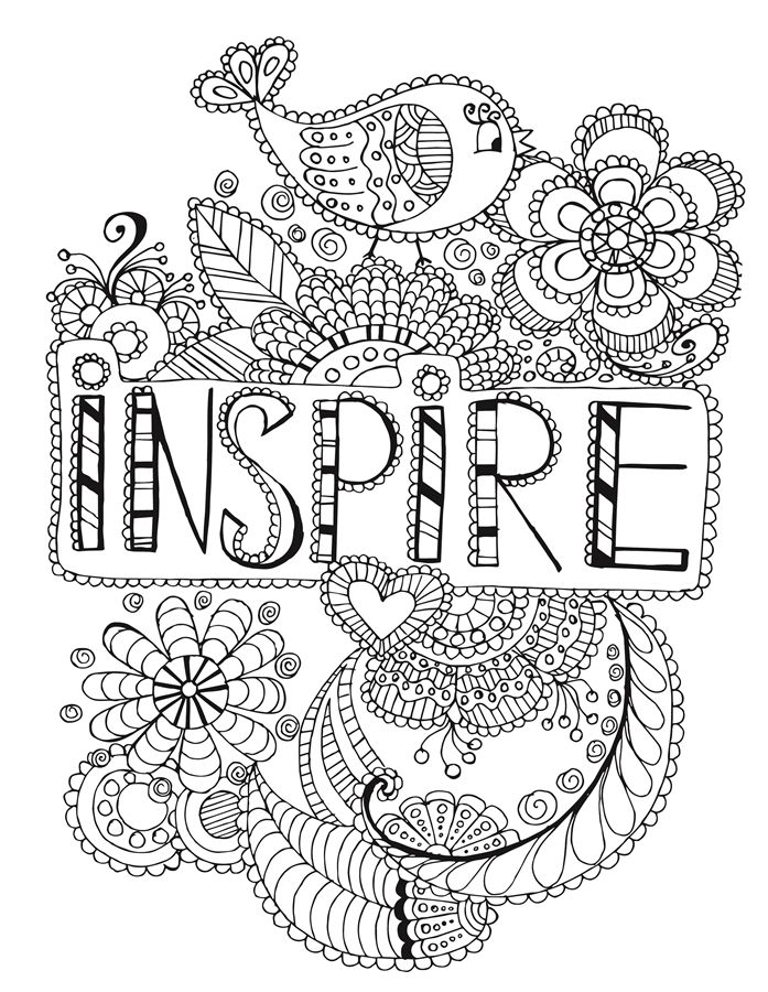 Inspire words coloring page  Words Coloring Pages for Adults