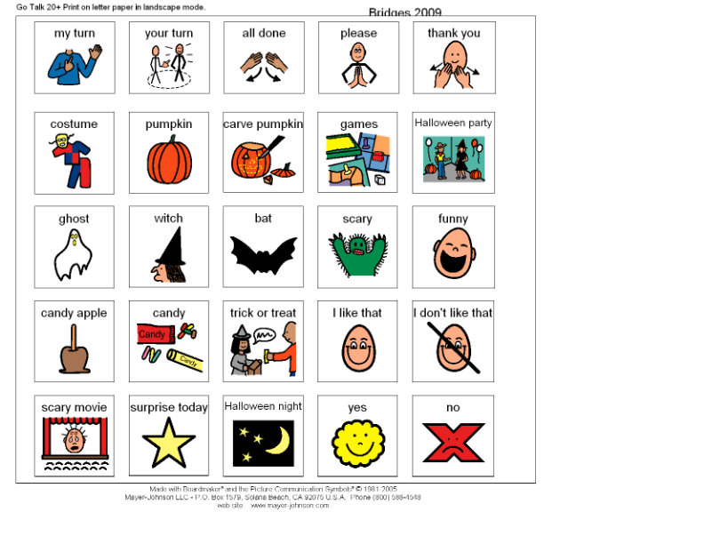 Halloween communciation board from https home go talk 2 this was made for a pre k student beginning to use the go talk 20 at home with his parents pronofoot35fo Images