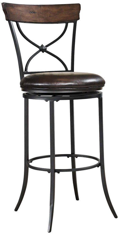 amazon - hillsdale cameron tall swivel brown bar stool