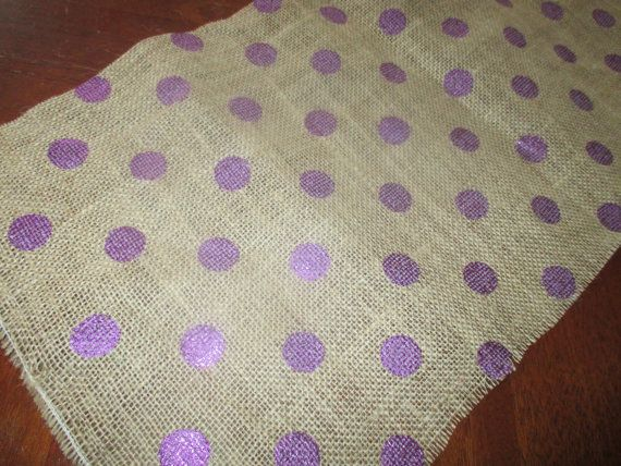 Purple Glitter Burlap TABLE RUNNER by TheQuiltedCreek on Etsy