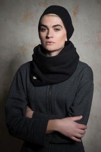 czarny KOMPLET czapka NOTE + komin TUNEL