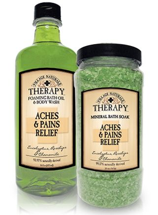 Essential oils of Eucalyptus, Chamomile  Rosehips soothe and comfort your body. I LOVE this stuff! Wish it came in large economy size! Soothes aches * pains much better than a plain hot bath or even epsom salts. Costs about $5 at Walmart.