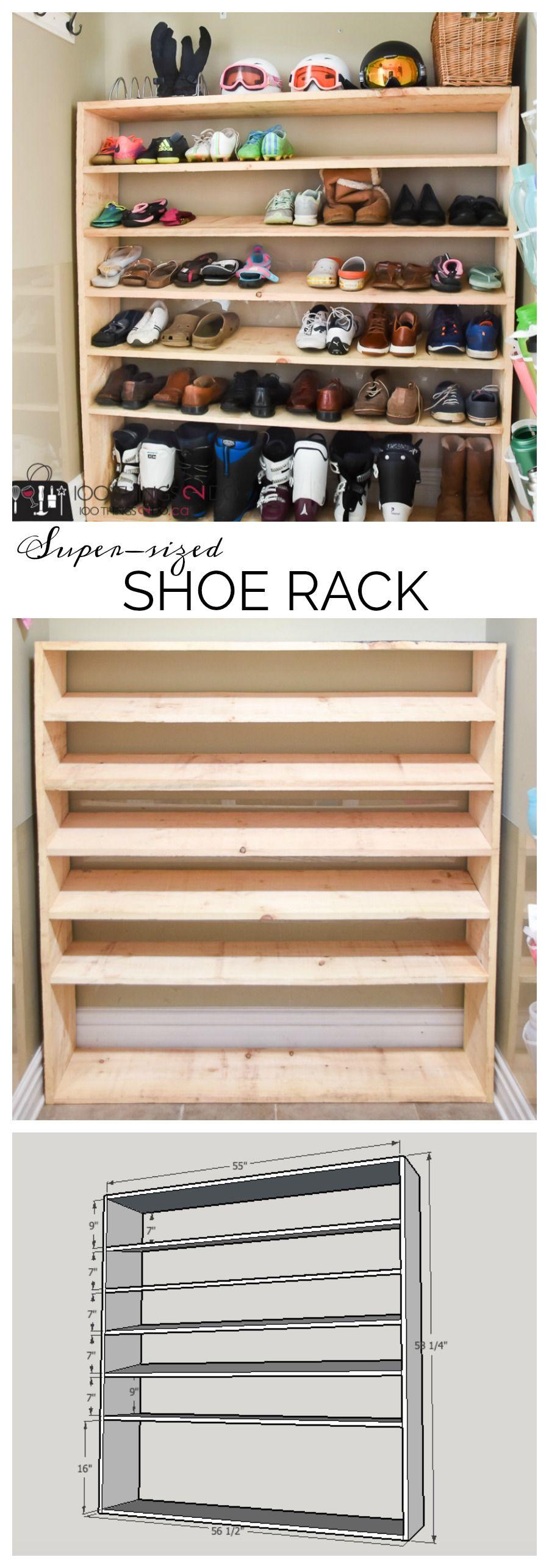 how to make a super sized shoe rack on a budget garage on wood shoe rack diy simple id=86963