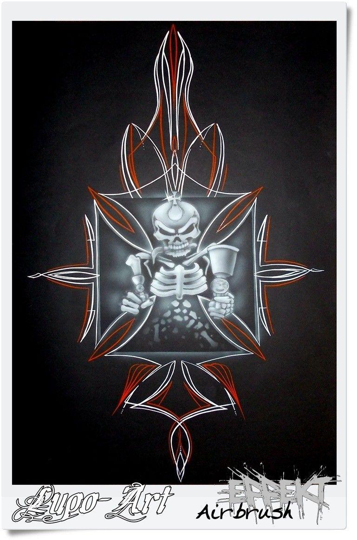PinStripe Iron cross skull schädel eisernes Kreuz