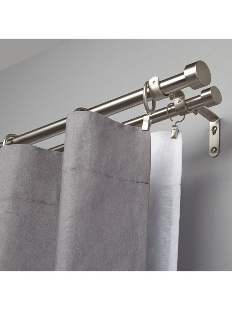 50 Diy Double Curtain Rods And Hooks That Give You Gorgeous Style Double Rod Curtains Double Curtains Curtains For Bifold Doors
