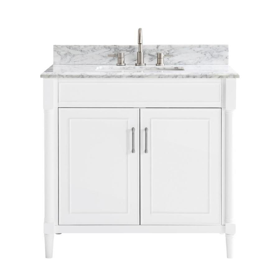Allen Roth Perrella 37 In White Single Sink Bathroom Vanity With