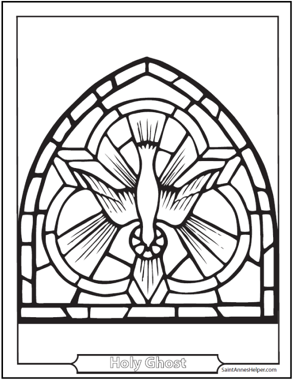 This Holy Spirit Dove Coloring Page Symbol Of The Descent Ghost On Apostles And Mary Pentecost Sunday 50 Days After Easter