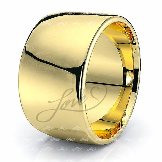 Yellow Gold 12mm Plain Dome Wedding Rings by MatchingWeddingRings