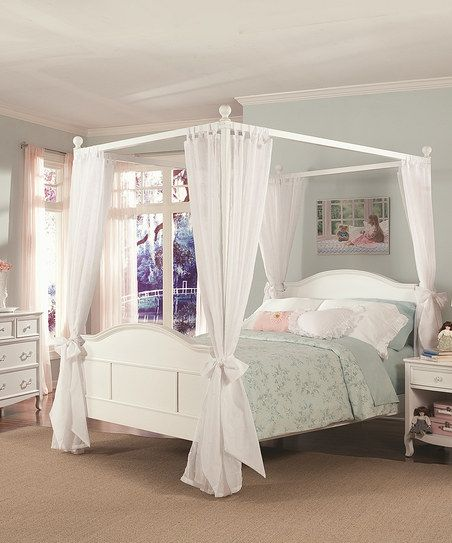 White Emma Four-Post Canopy Bed (need in a king size to accommodate large numbers of children)