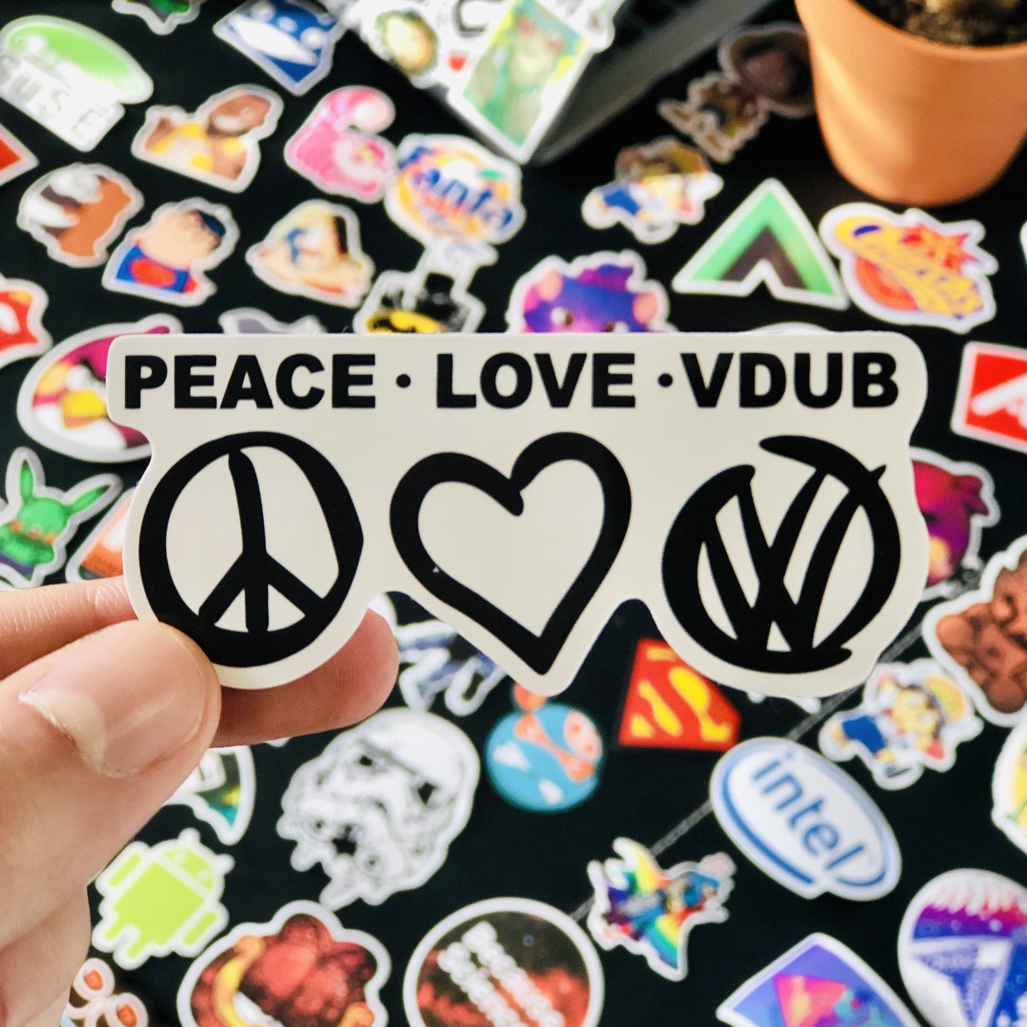 Peace Love Vdub Vw Sticker Car Window Stickers Sticker Shop Peace And Love [ 2048 x 2048 Pixel ]