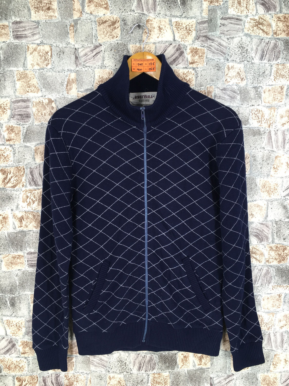 19c757ce61e5d JOHNBULL RENOWN Zipper Sweater Women Small Diamond Abstract ...