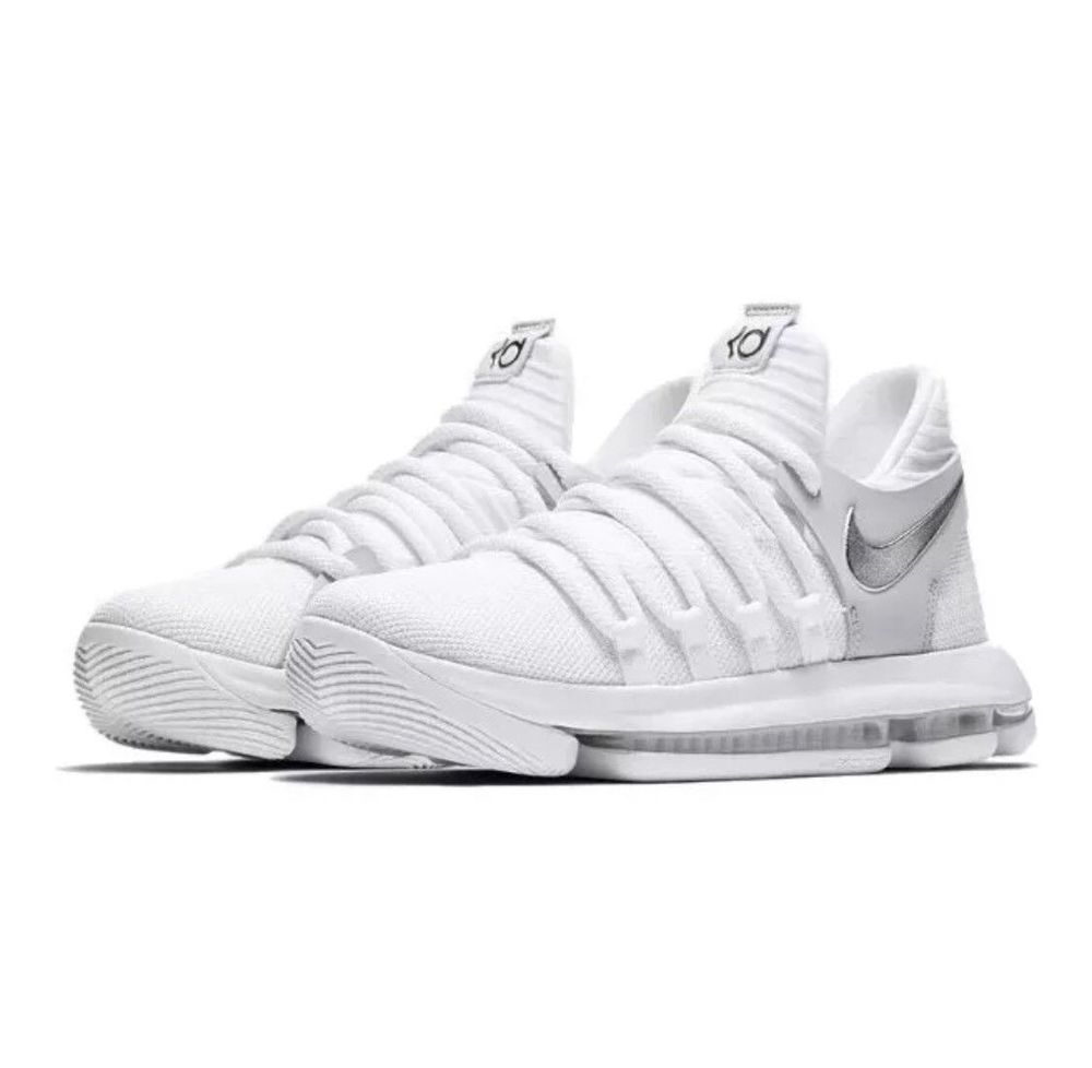 c20e952b3c1a8 Nike Zoom KD10 X GS Basketball Shoes 7Y White Chrome Pure Platinum  Nike   BasketballShoes