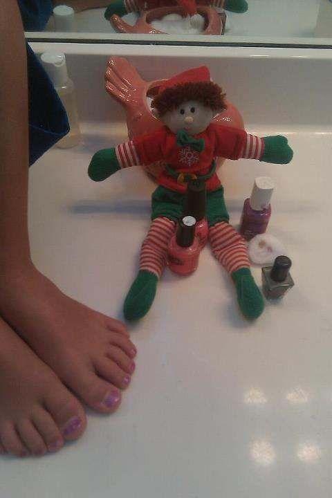 Walton the Elf painted my sons toenails purple while he slept. Yep, he's that good.
