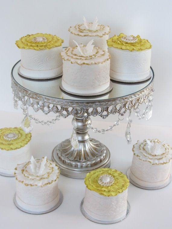 """Silver Beaded 10"""" Round Mirror Cake Stand on Etsy, $50.00"""