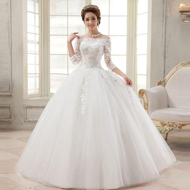 resultado de imagen para vestido de novia manga tres cuartos
