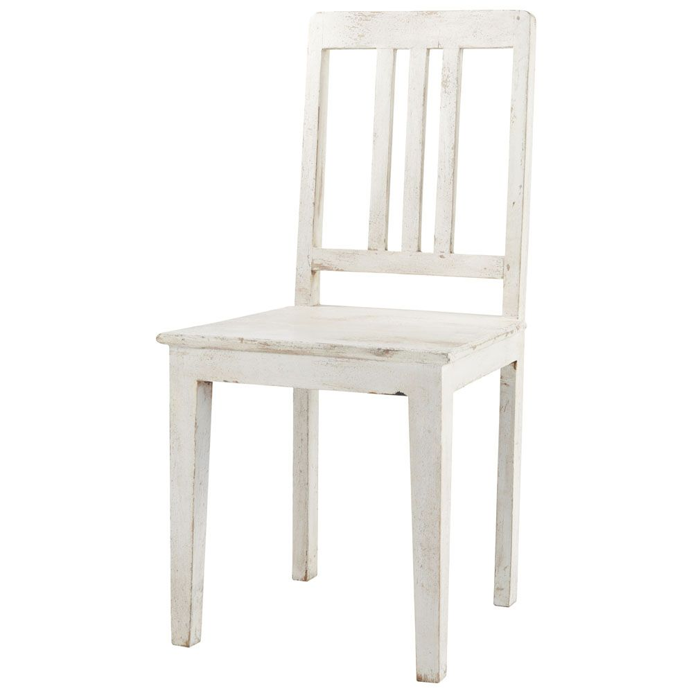 distressed mango wood chair in white | play room / dining room