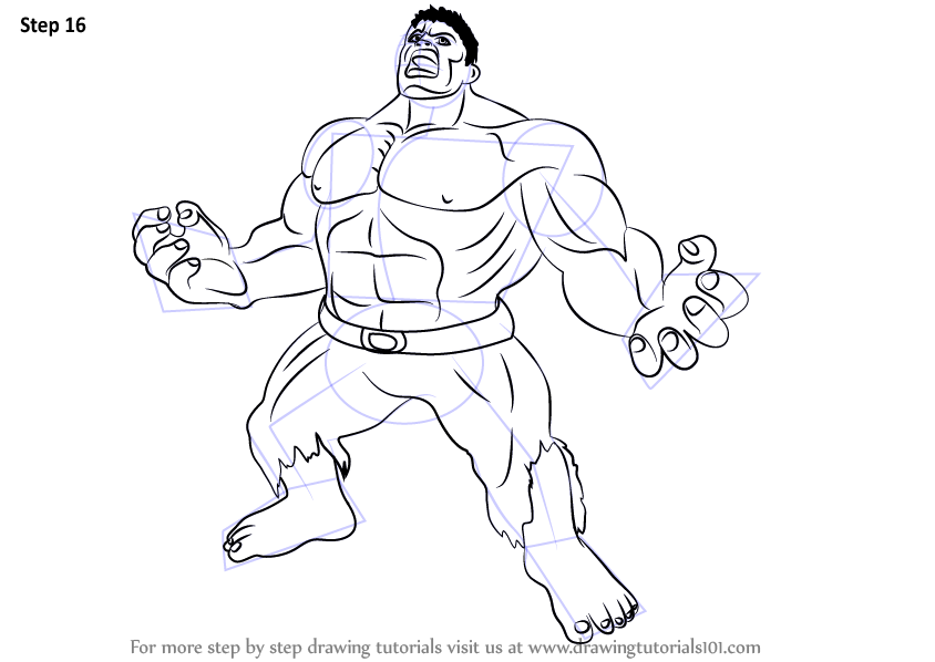 Step by Step How to Draw Angry Hulk DrawingTutorials101com