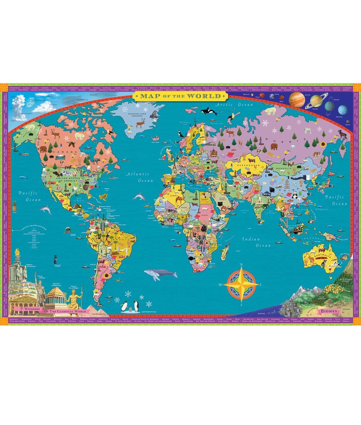 Children S World Map Kids Wall Map Uncommongoods World Map