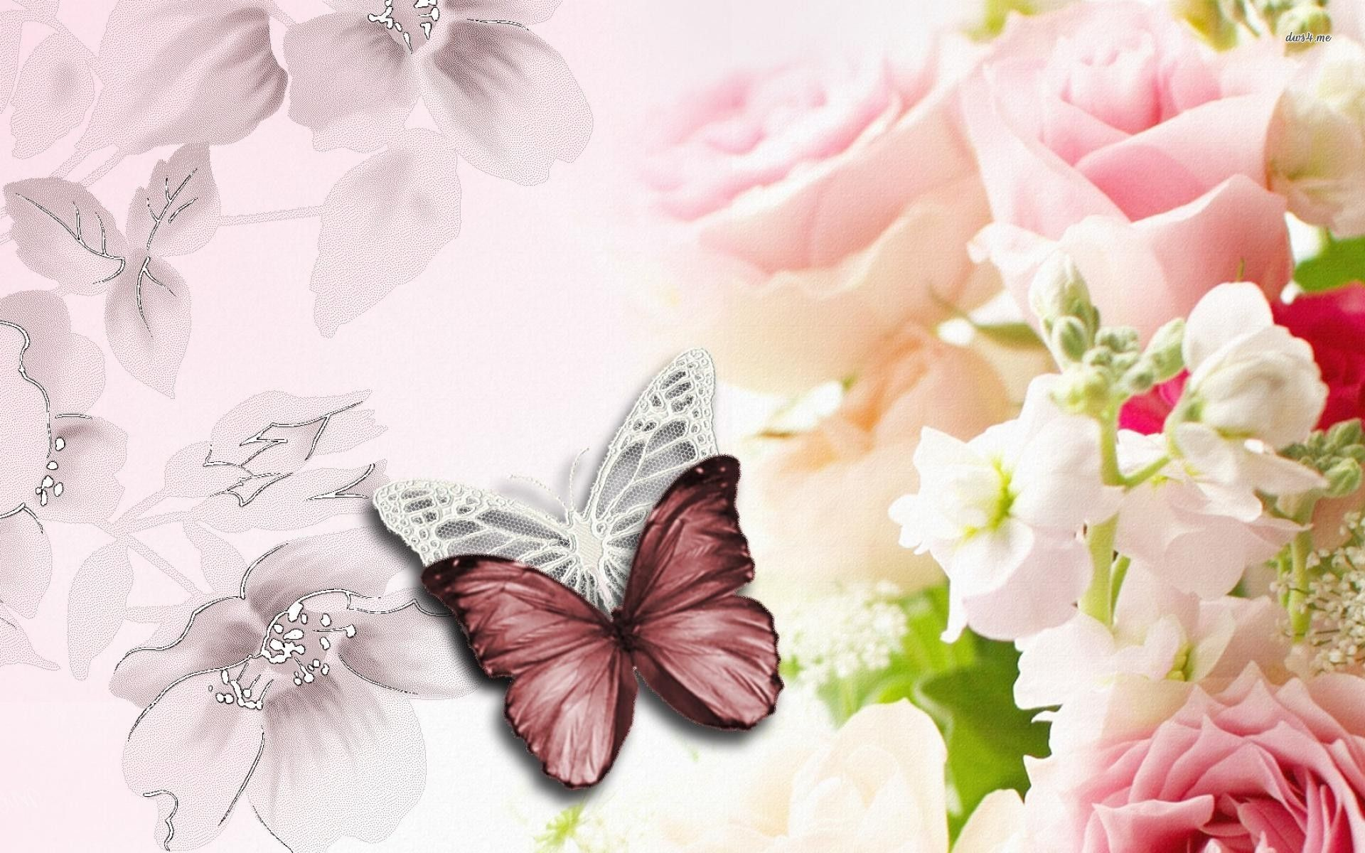 flowers and butterflies wallpaper - digital art wallpapers - #7284