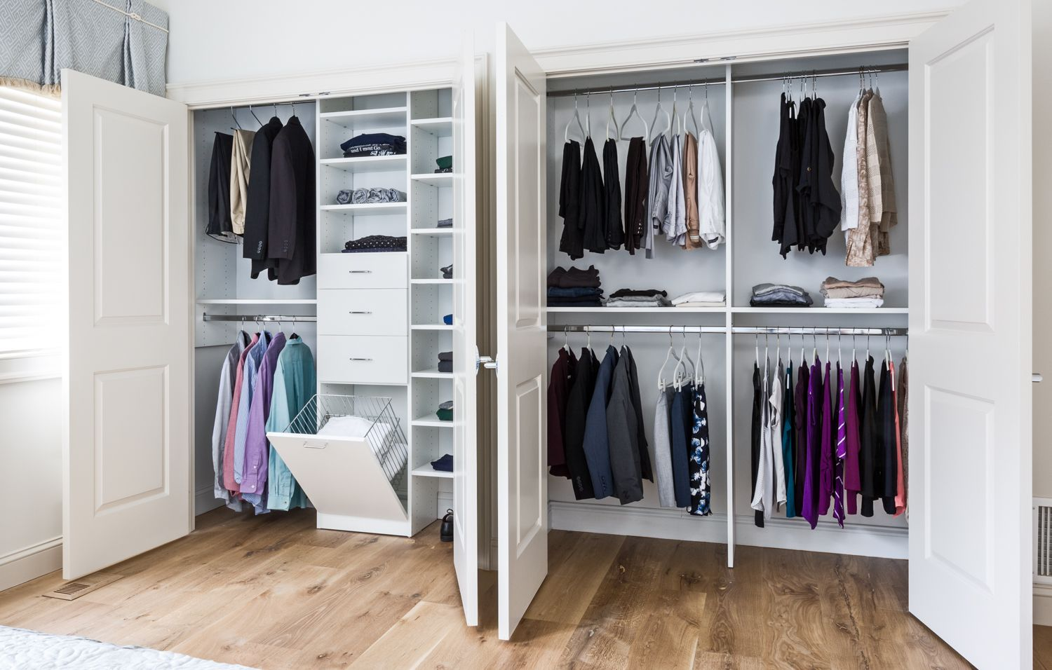 His And Hers Reach In Closet Closet Design Pantry Closet Design