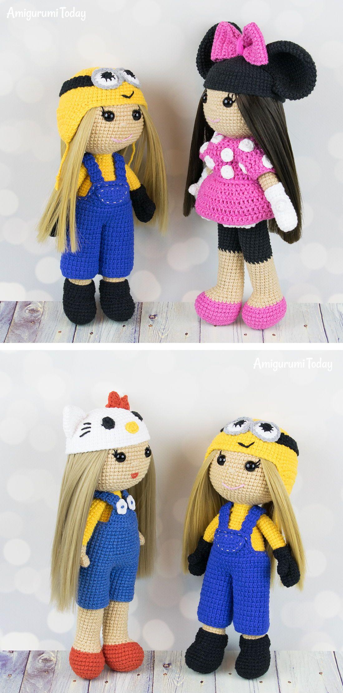 Crochet doll in Minnie Mouse costume | Pinterest | Häkeln