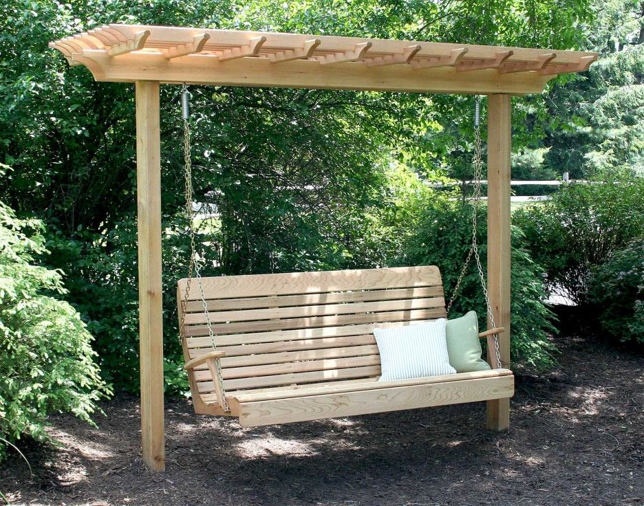 Exteriors. Minimalist Wooden Arbor Design With Pergola Roof And Swing Bench With Pair Of Cushions Ideas As Comfy Garden Seating Design. Excellent Wooden Swing Pergola Design For Enjoyable Seating In The Garden