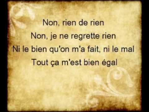 Non Je Ne Regrette Rien Lyrics Edith Piaf Canciones