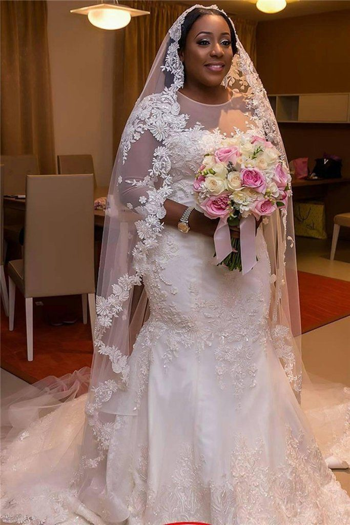 Plus Size Wedding Dress Elegant Lace Crystal Mermaid Wedding