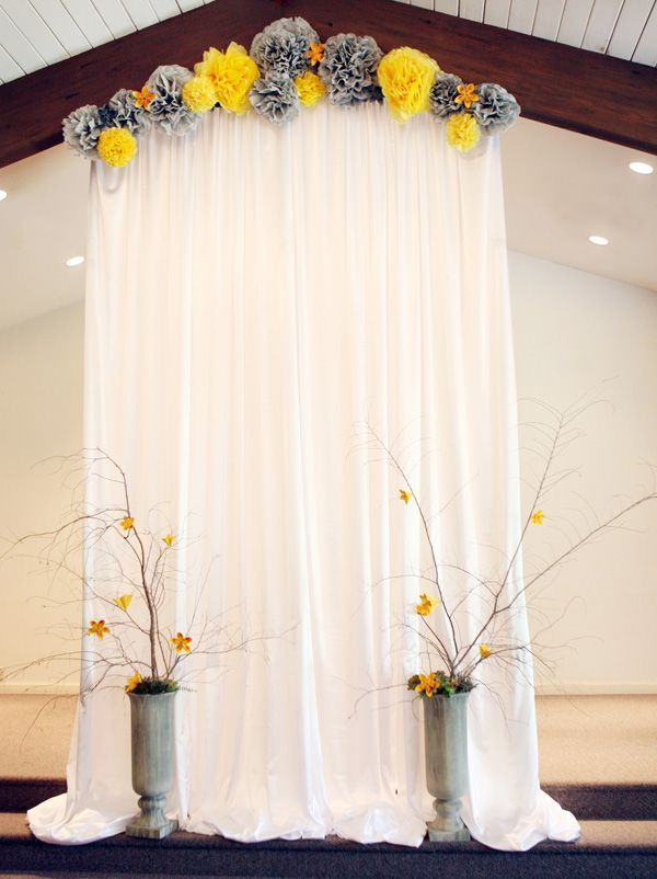 Easy Backdrop For The Ceremony You Can Make It With IKEA Curtains And Keep