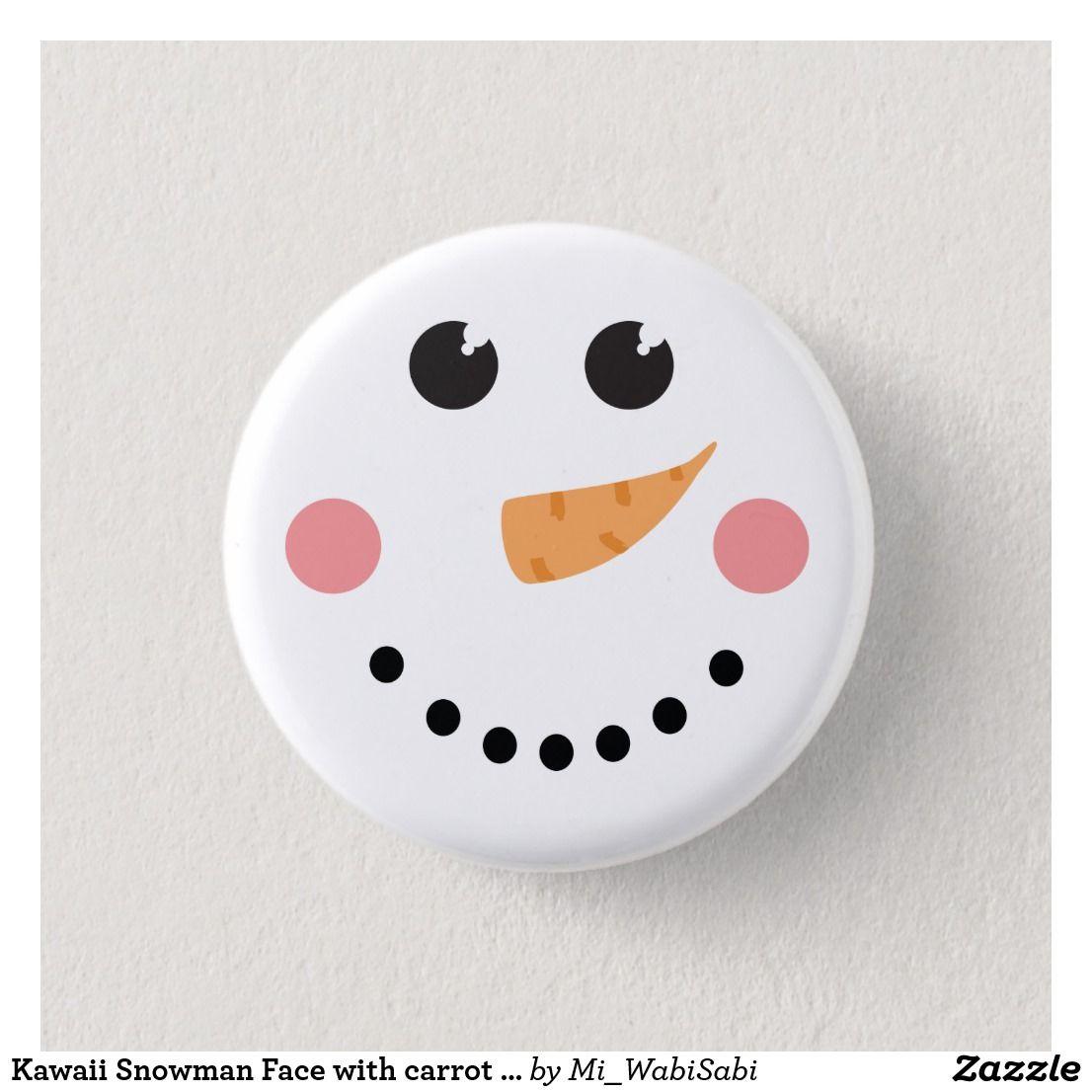 Kawaii Snowman Face with carrot nose Button
