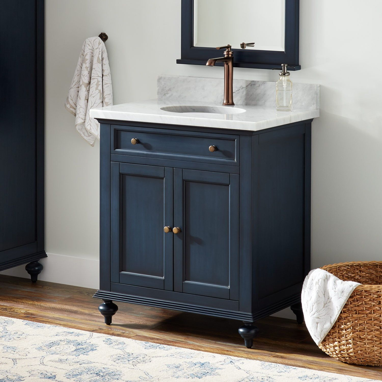 30 Keller Mahogany Vanity For Undermount Sink Vintage Navy Blue